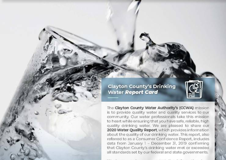 Annual Water Quality Report Shows Drinking Water  Met or Exceeded All Federal and State Standards During 2019